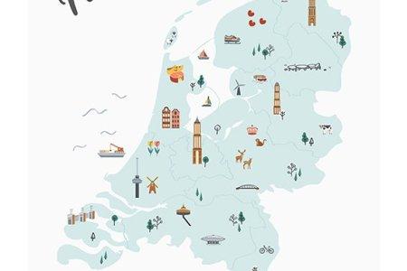 Poster Nederland in kaart - blauw