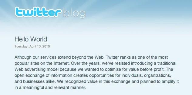 Twitter annonce le lancement de la publicité