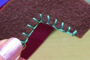 Blanket stitching in indent