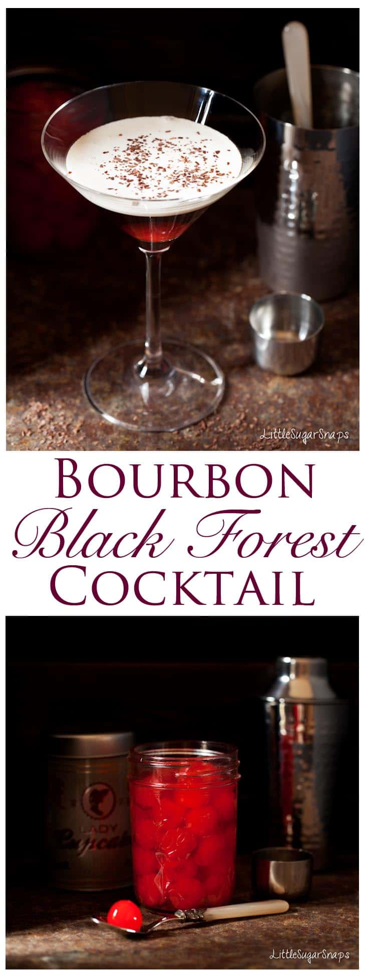 This Bourbon Black Forest Cocktail is loaded with chocolate and cherry flavours. Deeply warming. Pleasantly sweet. It's a particularly stylish winter drink.