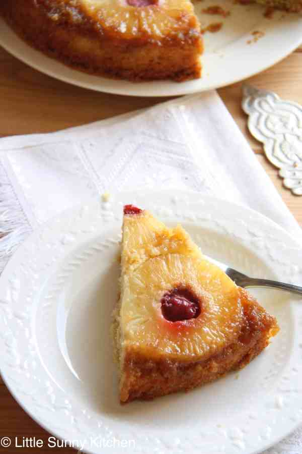 piece upside down pineapple cake