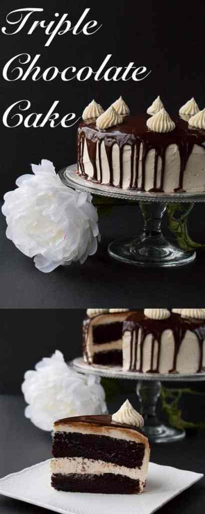 """A rich dark chocolate fudge cake surrounded with a creamy white chocolate buttercream and topped with a smooth chocolate ganache. This cake will have you saying """"OMG!"""" It's that good."""