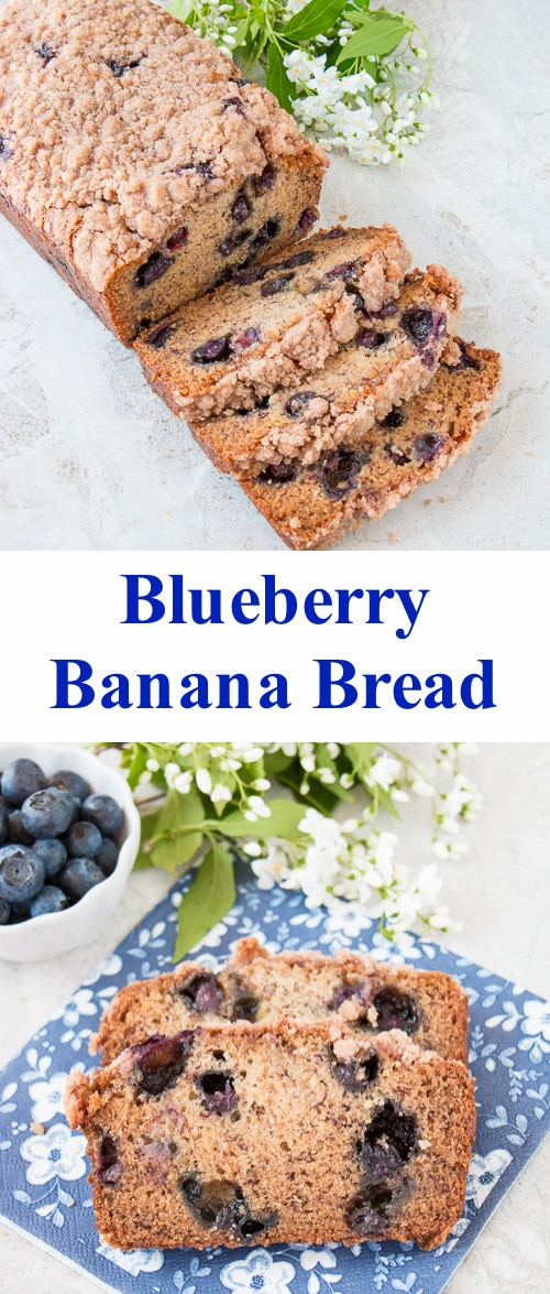 This is a moist flavorful banana bread studded with delicious blueberries and topped with a crunchy sweet cinnamon streusel.