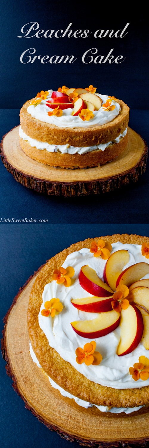 A simple 3-ingredient sponge cake with a fresh peaches and cream filling and finished with a cloud of whipped topping