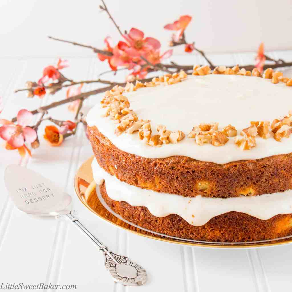 Tastes just like a regular carrot cake, but healthier and less calories. This moist and delicious cake is made with whole wheat flour, coconut oil, maple syrup and Greek yogurt.