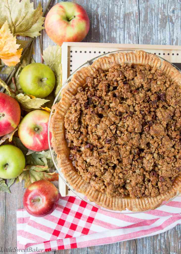 Embrace apple season with this sweet and crunchy crumble-topped apple pie.