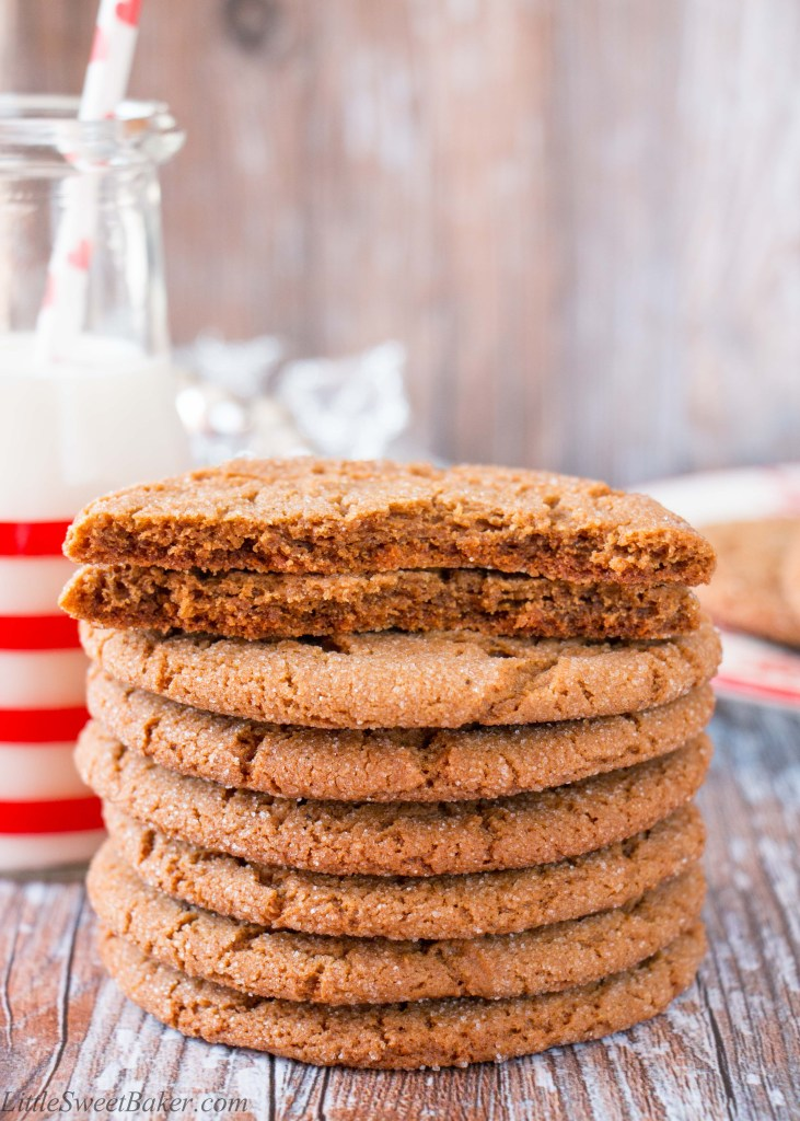 These jumbo size cookies are bold and spicy with a crunchy sugary exterior, and a chewy center.