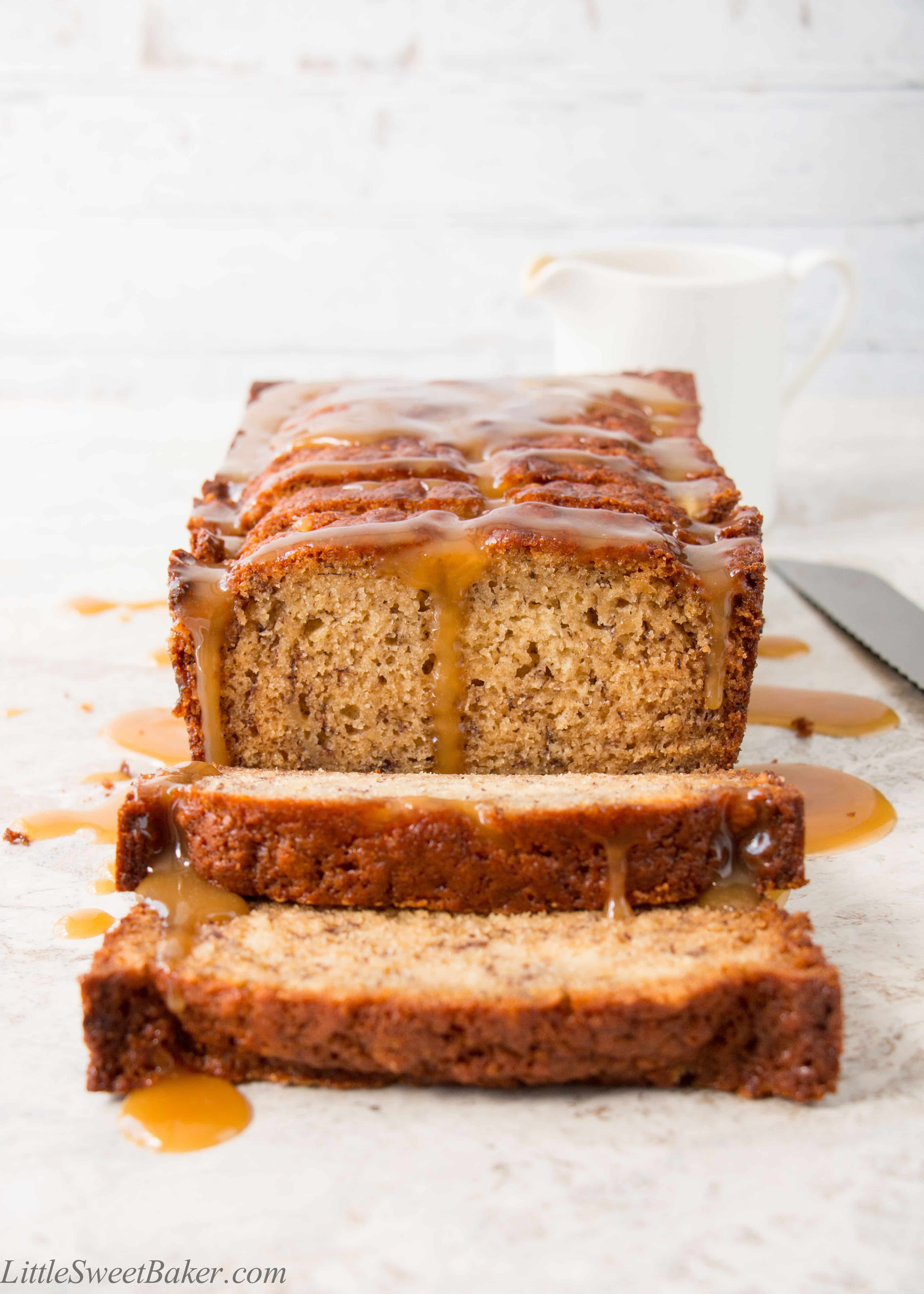 Salted caramel banana bread little sweet baker the flavor of salted caramel infused into a soft and moist banana bread then drizzled forumfinder Choice Image