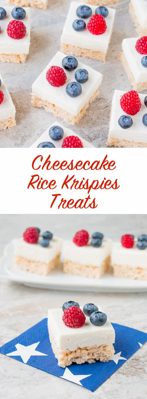 Rice Krispies treats combined with cheesecake makes these crunchy-creamy bars absolutely irresistible.