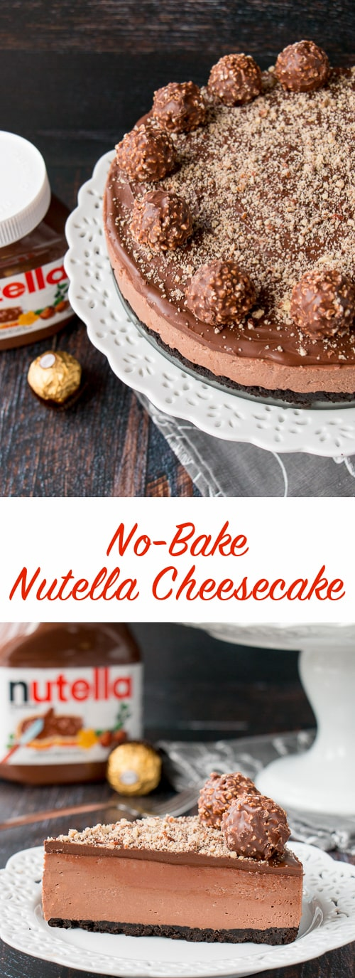 This is a creamy-dreamy Nutella cheesecake with an Oreo cookie crumb crust. It's topped with more Nutella and decorated with Ferrero Rocher candies. This no-bake recipe is the easiest and most delicious cheesecake you will ever make!