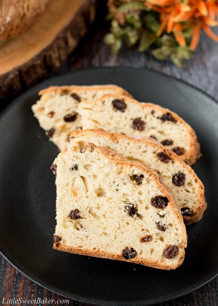 Made in under an hour from start to finish; this bakery quality bread is soft, moist and chewy with a wonderful crusty exterior. #Irishsodabread #raisinbread #easybreadrecipe