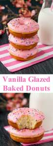 These baked donuts are soft, fluffy, and so much healthier than fried donuts, but just as tasty! #vanilladonuts #bakeddonuts #homemadedonuts #vanillaglaze #glazeddonuts
