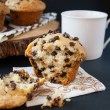 The BEST chocolate chip muffin recipe - soft, moist and fluffy, loaded with chocolate chips and a perfect crispy sky-high muffin top! Hundreds of rave review. #chocolatechipmuffins #easychocolatechipmuffins #bestchocolatechipmuffins #moistchocolatechipmuffins