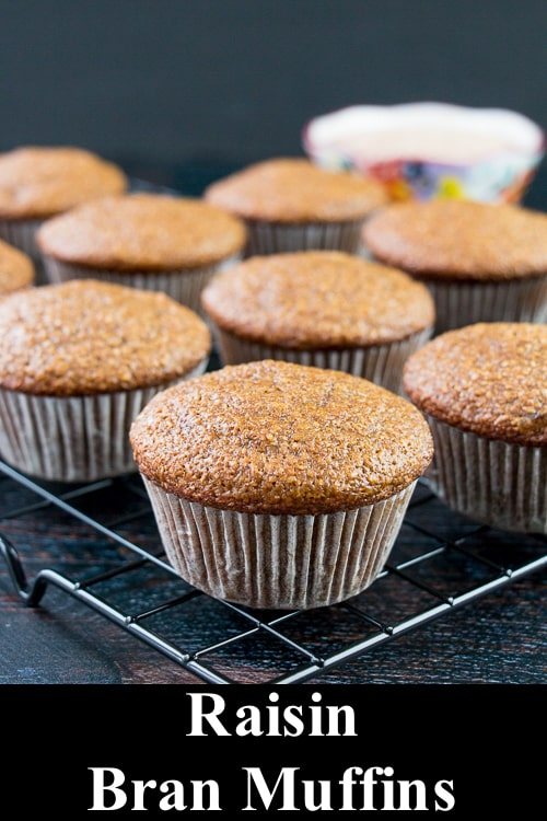 These raisin bran muffins are soft, moist and good for you. They are low in fat and packed with fiber to help keep you regular. #branmuffinrecipe #healthybranmuffins #raisinbranmuffins #breakfast #snack