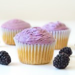 Vanilla Cupcakes with Blackberry Coconut Cream
