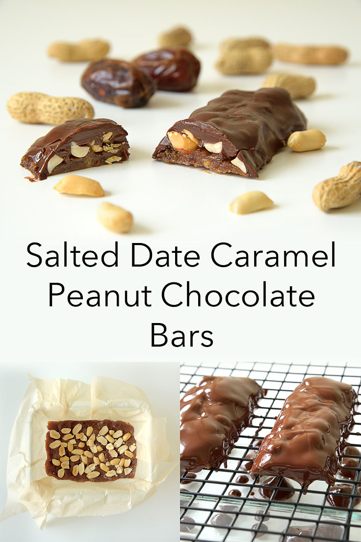 Salted Date Caramel Peanut Chocolate Bars