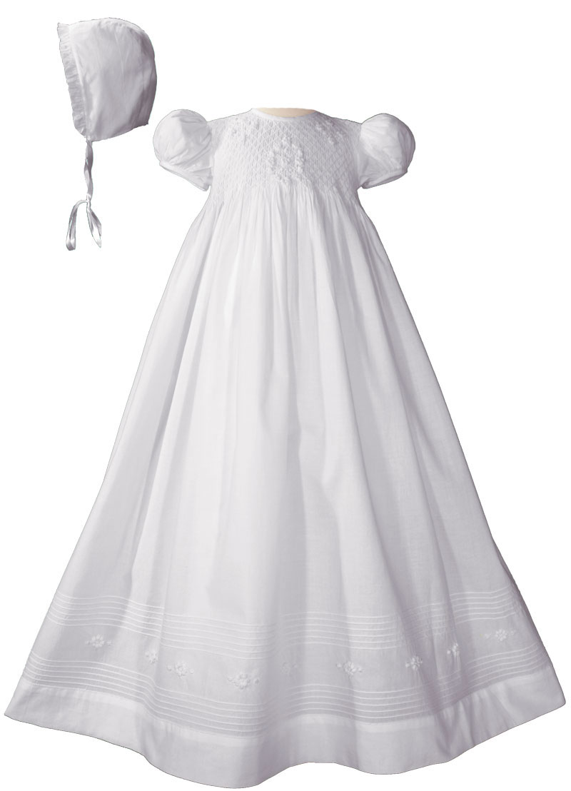Girls 32 Cotton Hand Smocked Christening Gown Baptism