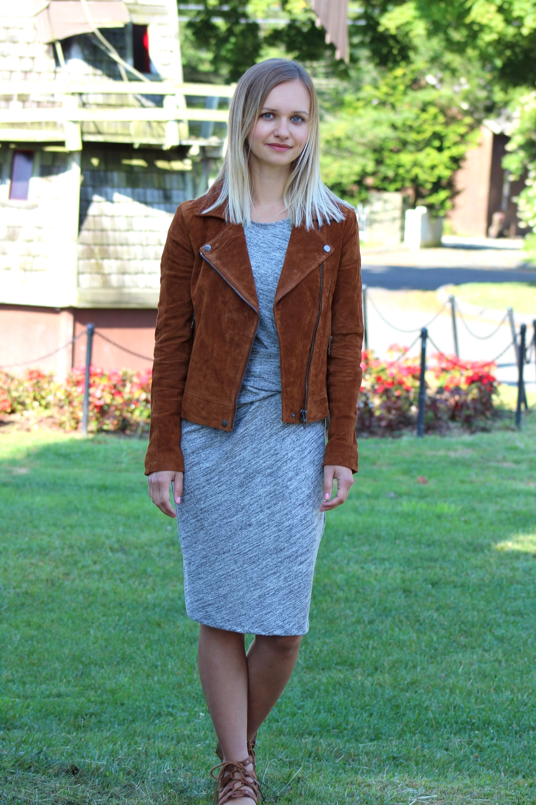 macys Bar III Heathered Ruched Dress blanknyc suede moto jacket little things olga connecticut style blog transitioning from summer to fall fashion