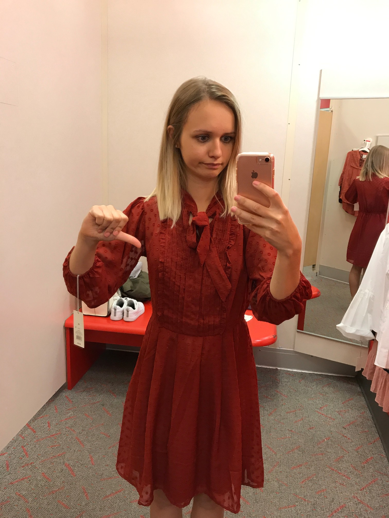 Target A New Day Ruffle Tie Neck A-Line Dress fitting room adventures little things olga connecticut style blog