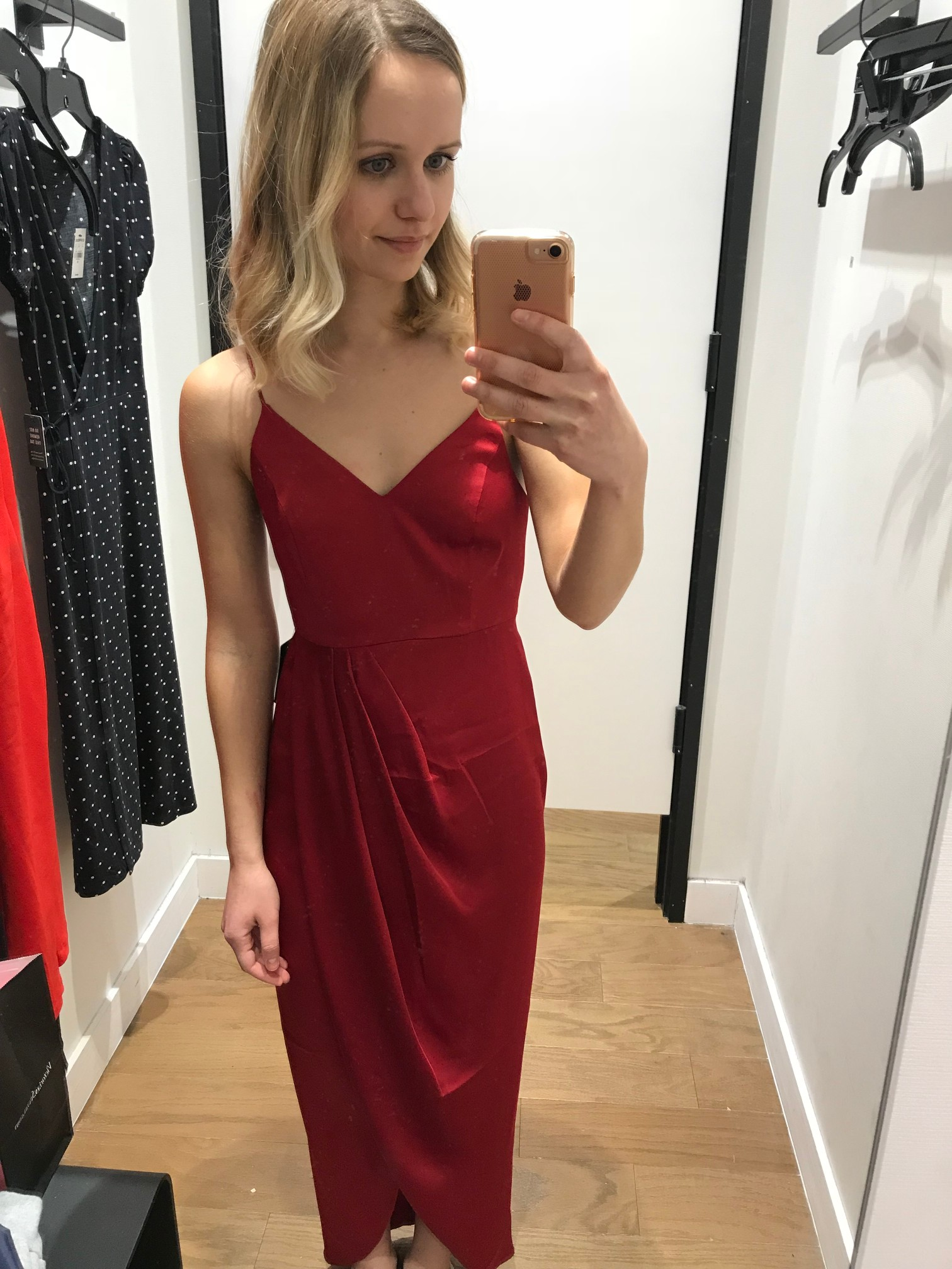 Express Satin Wrap Fit and Flare Maxi Dress Express   Fitting Room Adventures by Little Things Olga