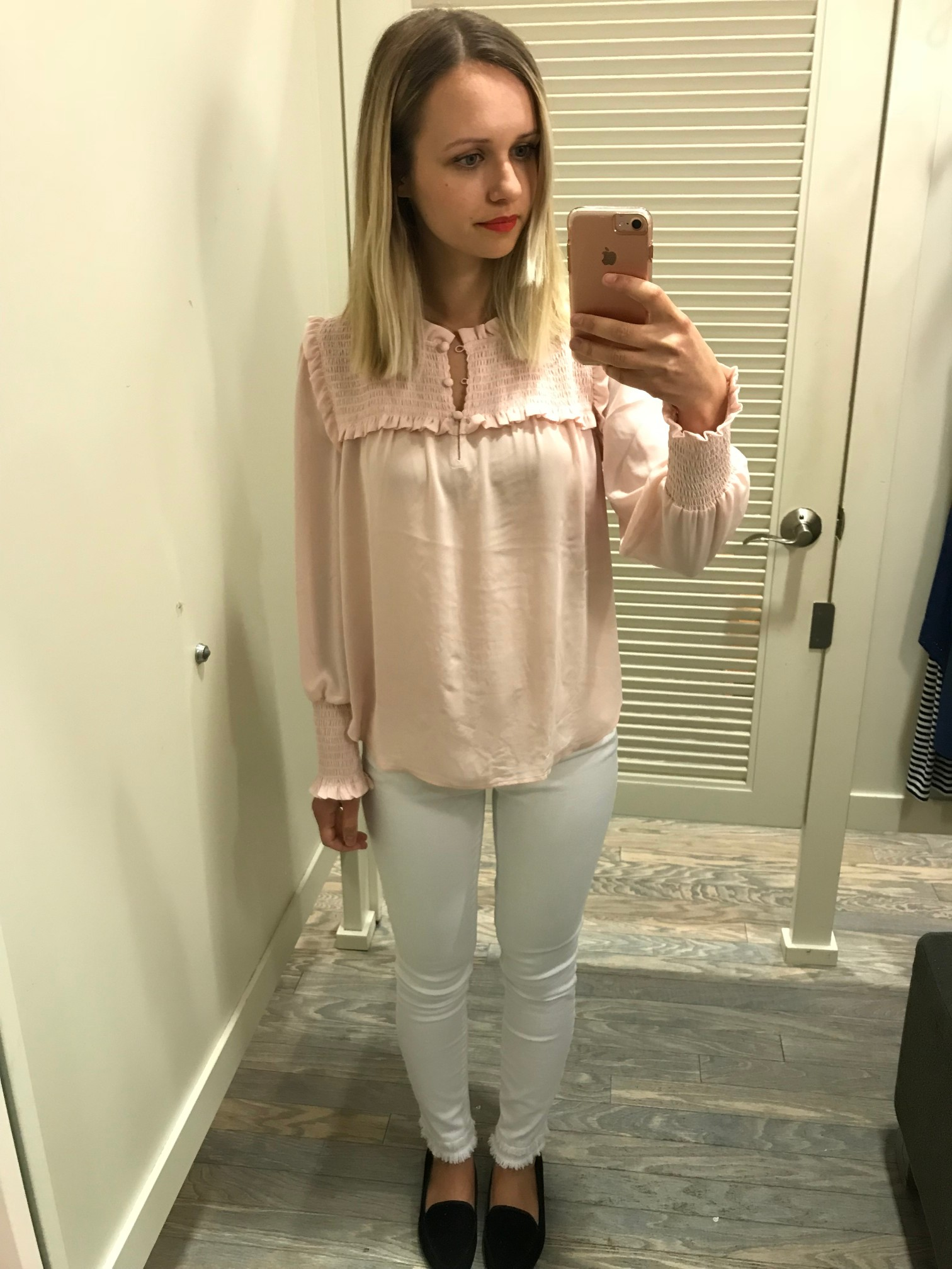 94e70deb3d1 LOFT Smocked Ruffle Blouse - Fitting Room Adventures