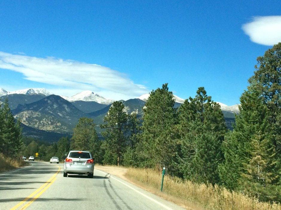 The view driving into Estes Park