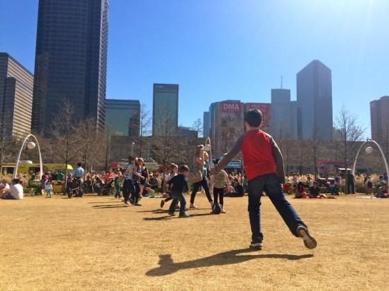 Kids playing at Klyde Warren Park