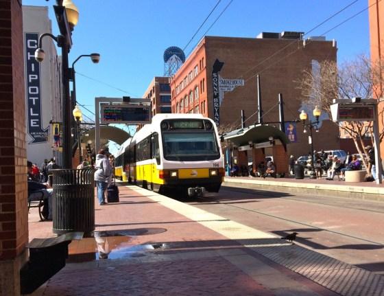 DART train approaching in Dallas' West End district