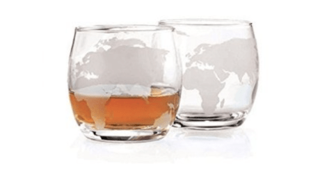 Etched Globe Whisky Glasses