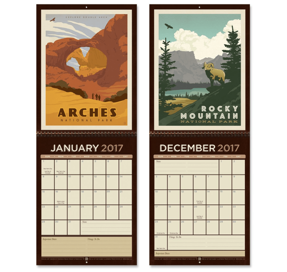 National Parks 2017 Wall Calendar - Travel Gift Guide