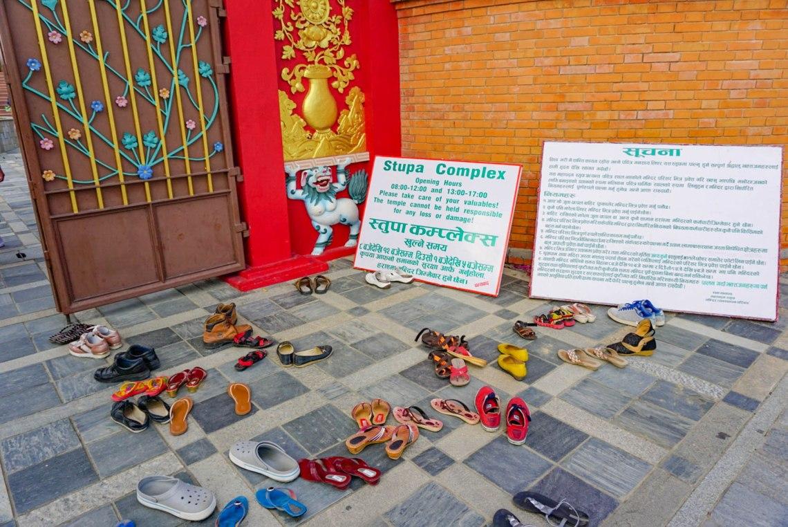 Removing Shoes Temple Lumbini Nepal