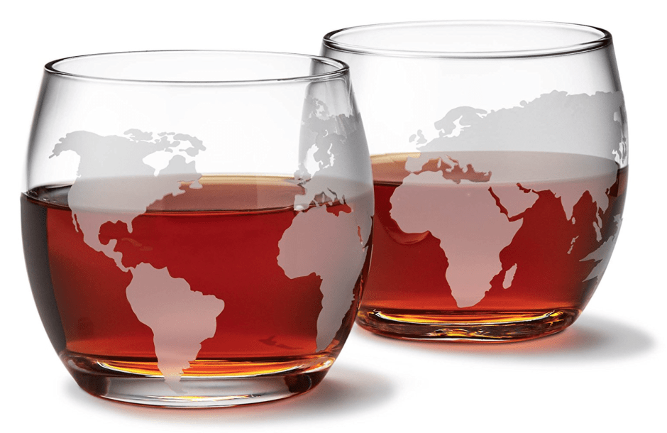 Etched Globe Whiskey Glasses - Travel Gift Guide