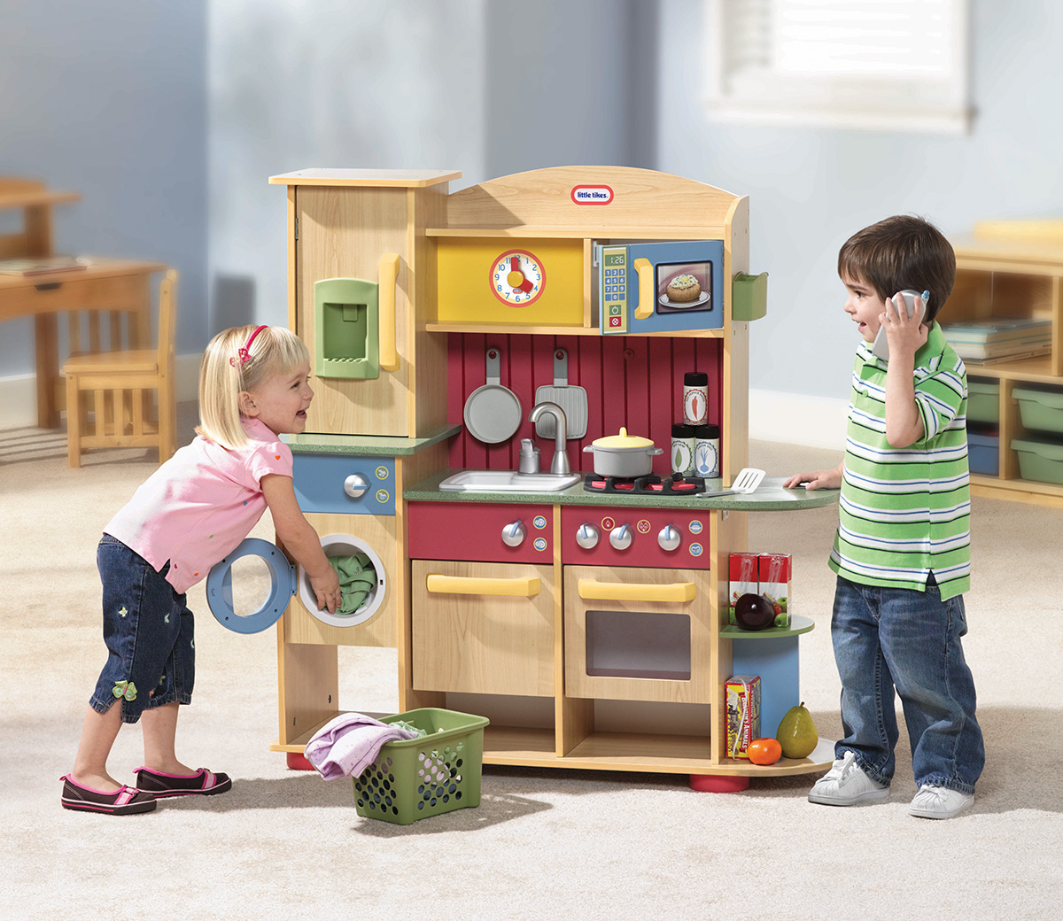 wood kitchen playsets stainless steel carts little tikes cookin creations premium