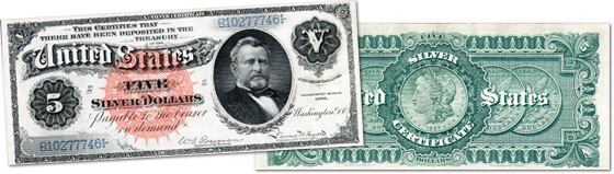[photo: $5 Silver Certificate with Silver Dollars back - Series 1886]
