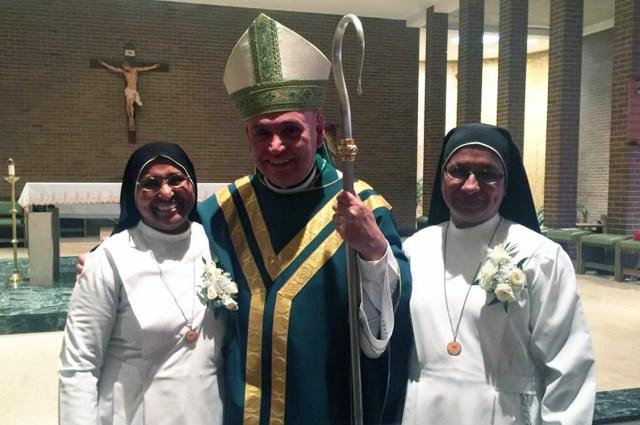 Our Jubilarians Sr Leena,Sr Anitta with Bishop Dorsenville
