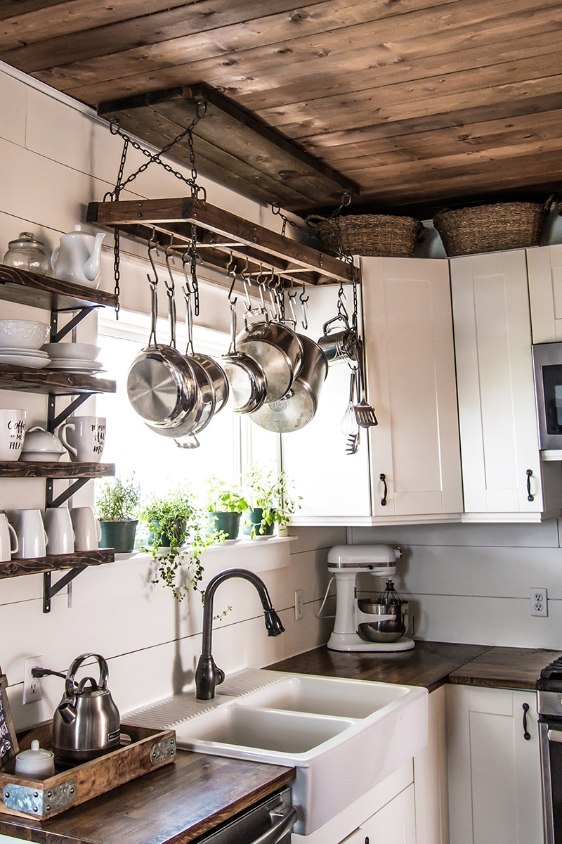 diy pot rack and secure it to your ceiling