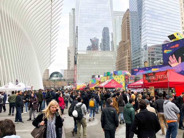 Overlooking the crowd and vendors under the Oculus