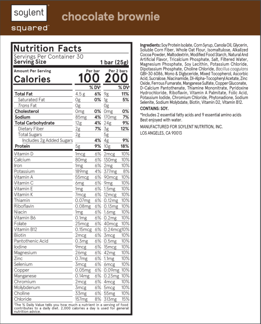 Soylent squared nutrition facts