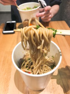 Bowl of noodles and meat