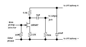 Figure 2. Discrete JFET guitar preampcircuit.