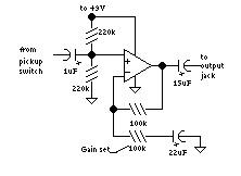 Figure 3. Opamp guitar preamp circuit.