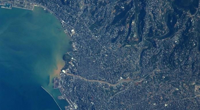 Бейрут, как видно из Международной космической станции