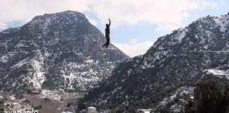 Слэклайн на высоте 30 метров. Ливан Танноурине.