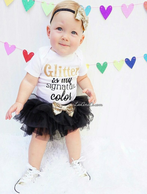 Glitter Is My Signature Color Baby Girl One Piece Outfit Toddler Shirt