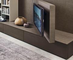 Livitalia Wohnwand C45 mit Bücherregal und TV Paneel