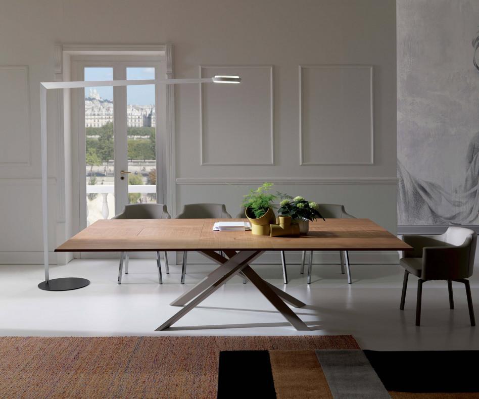 Ozzio 4x4 Eckiger Esstisch zum ausziehen mit Holzplatte