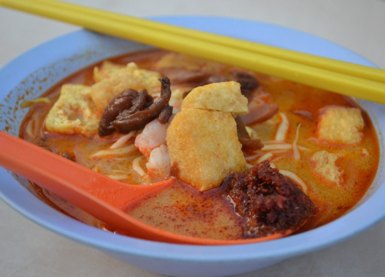 Curry Mee at Gurney Drive in Penang Eating Malaysian Food