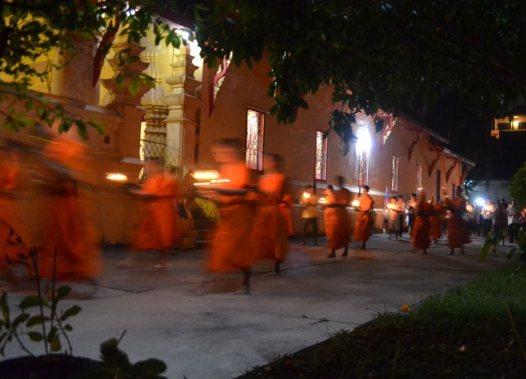 Buddhist Monks, Vientiane Riverside Night Market Area, Saturday Night