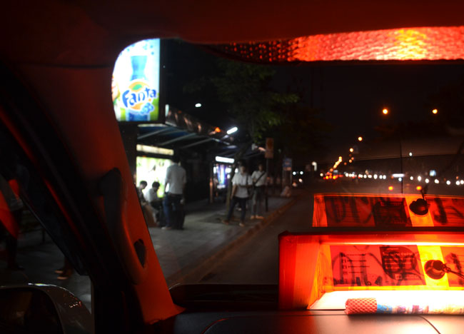 Minivan in Bangkok Traffic Night, Bangkok Student Life, Southeast Asia