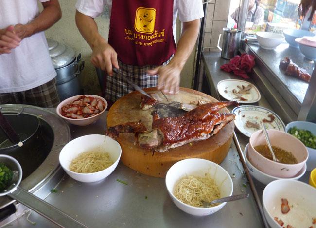 Chopping Ped Yang in Roast Duck Restaurant in Bangkok, Southeast Asia